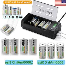 EBL R20 C D Size Cell 5000mAh 10000mAh Ni-MH Rechargeable Ba
