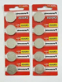10 Pack! Panasonic Lithium 3V CR2025 Batteries