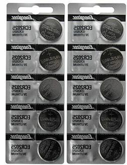 10 x FRESH Genuine Energizer CR2025 ECR2025 3V Coin Button B