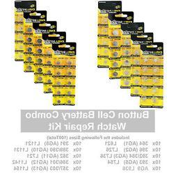 100 pcs Assorted Watch Batteries Alkaline Repair Kit Variety