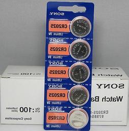 100 PK SONY CR2025 CR 2025 3V Lithium Batteries Expires 2026