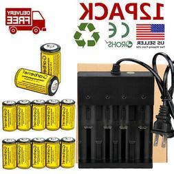 12pc CR123A 3.7V Li-Ion Rechargeable Batteries for Netgear A