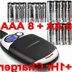 16 NiMH Rechargeable Batteries+Extreme  1Hr Charger+USB cabl