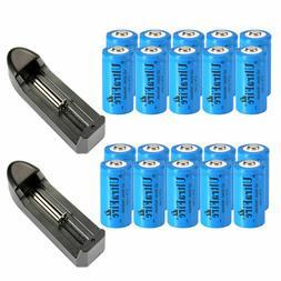 16340 Battery Ultra1800mAh Fire CR123A Rechargeable 3.7V Li-