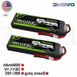 2 Packs OVONIC 11.1V 5500mAh 50C RC Lipo 3S Battery Deans Pl