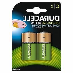 2 x Duracell C Size 3000 mAh Rechargeable Batteries NiMH LR1