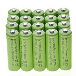 20 AA Rechargeable Batteries NiMH 3000mAh 1.2v Garden Solar