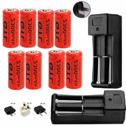 2300mAh 16340 CR123A Rechargeable Battery & Charger For LED