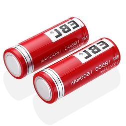 EBL 2PCS 1600mAh 18500 Rechargeable Battery 3.7V INR For Hig