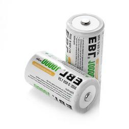 2pcs EBL D Size D Ni-MH Rechargeable Batteries High Capacity