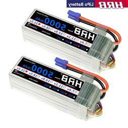 2pcs HRB 22.2V 6S 5000mAh LiPo Battery 50C-100C EC5 for RC H
