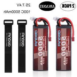 2x 2S 7.4V 5000mAh 100C LiPo Battery Deans T For Traxxas RC