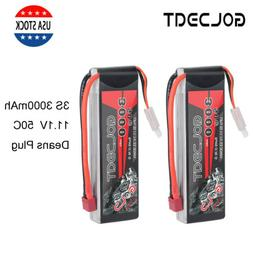 2X 3S 3000mAh 50C 11.1V LiPo Battery Deans Plug For RC Car F