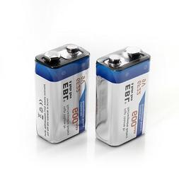 2x EBL 600mAh 9V Lithium-ion Li-ion Rechargeable Batteries 9