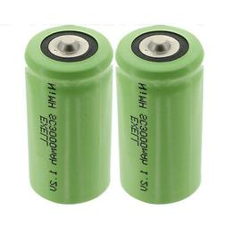 2x Exell 1.2V 3000mAh NiMH SubC Size Rechargeable Button Top