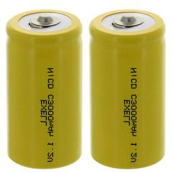 2x Exell C Size 1.2V 3000mAh NiCD Button Top Rechargeable Ba