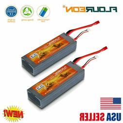 2X FLOUREON Lipo Battery 1500mAh 7.4V 2S 35C T Plug For RC C