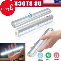 3 Pack 10 LED Motion Sensor Closet Light Stick-on Wireless B