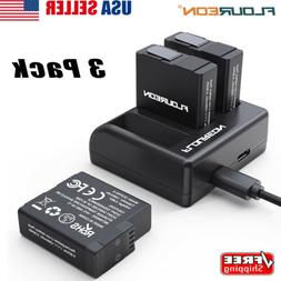 3 Pack Camera Battery / Charger For Gopro Hero 5/6/7 Black A