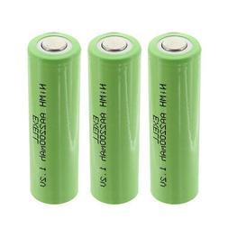 3x Exell 1.2V AA 2200mAh Rechargeable NIMH Flat Top Batterie