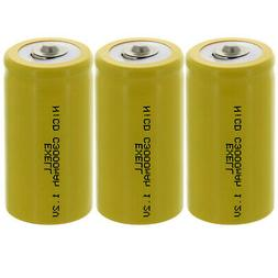3x Exell C Size 1.2V 3000mAh NiCD Button Top Rechargeable Ba