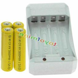 4 AA Yellow Rechargeable Batteries NiCd 2800mAh 1.2v Solar L