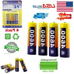 4-Pack High Capacity 1.2Volt AA Batteries Ni-MH Rechargeable