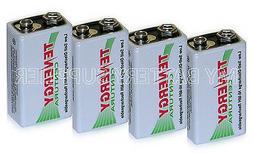4 Rechargeable 9V Volt Low Self-Discharge Batteries