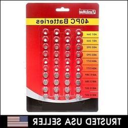 40 Assorted Super Alkaline Button Batteries Coin Cell Set Wa