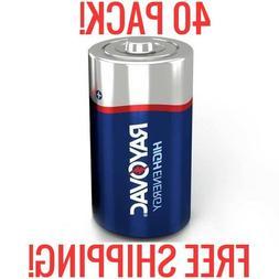 40 RAYOVAC HIGH ENERGY D ALKALINE BATTERIES 1.5V NEW BULK WH