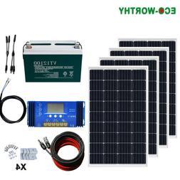 480W Solar Kit 4 pcs 120W 12V Solar Panel+100AH Battery +60A