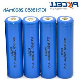 4Pack 18650 2600mAh 3.7v Lithium Rechargeable Li-ion  Batter