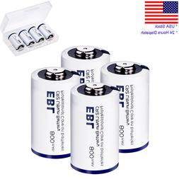 4x 3V 800mAh CR2 Lithium Battery  + Case For Camera Flashlig