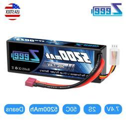 Zeee 50C 2S 5200mAh 7.4V Lipo Battery Hardcase Deans Plug fo