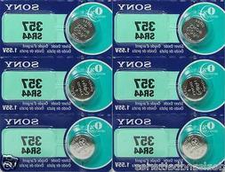 6 Sony 357 SR44SW Silver Oxide 0% MERCURY Batteries