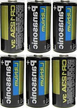 6 Panasonic 3V Lithium CR123A Batteries for Camera Flashligh