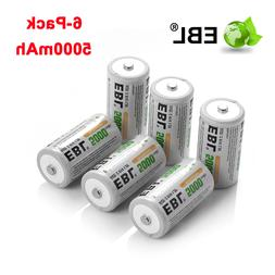 6 Pack EBL 2 IN 1 1.2V 5000mAh C Size R14 Ni-MH Rechargeable