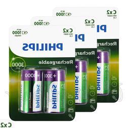 6 x Philips Rechargeable C Size batteries 3000mAh 1.2V Ni-MH
