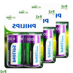 6 x Philips Rechargeable D Size batteries 3000mAh 1.2V Ni-MH