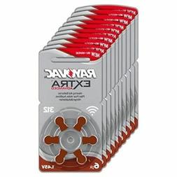 60 Rayovac Extra Advanced Hearing Aid Batteries, SIZE 312 Fa
