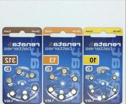 60 Renata Hearing Aid Batteries SIZE 10, 13, 312 made in Ger