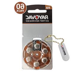 60 Rayovac MF Hearing Aid Batteries Size 312 + Holder/2 Extr