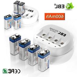 EBL 600mAh 9V 6F22 Li-ion Rechargeable Batteries + 9 Volt Ba