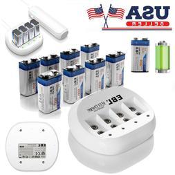 EBL Lot 9V 600mAh 6F22 Li-Ion Rechargeable Battery 9-Volt 4