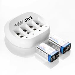 EBL 6F22 9V 600mAh Li-ion Rechargeable Battery  + USB 9-Volt