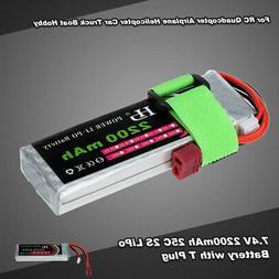 7.4V 2200mAh 25C 2S LiPo Battery for RC 1/16 TRAXXAS MINI E-