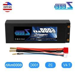 Zeee 7.4V 2S 6000mAh 100C LiPo Battery Deans Plug Hardcase f