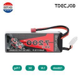 7200mAh 7.2V 50C 2S LiPo Battery Deans Plug Hardcase for RC
