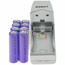 8 AA Purple Rechargeable Batteries NiCd 2800mAh 1.2v Solar L