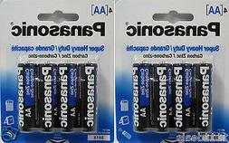 8 Panasonic Super Heavy Duty AA Carbon Zinc Batteries